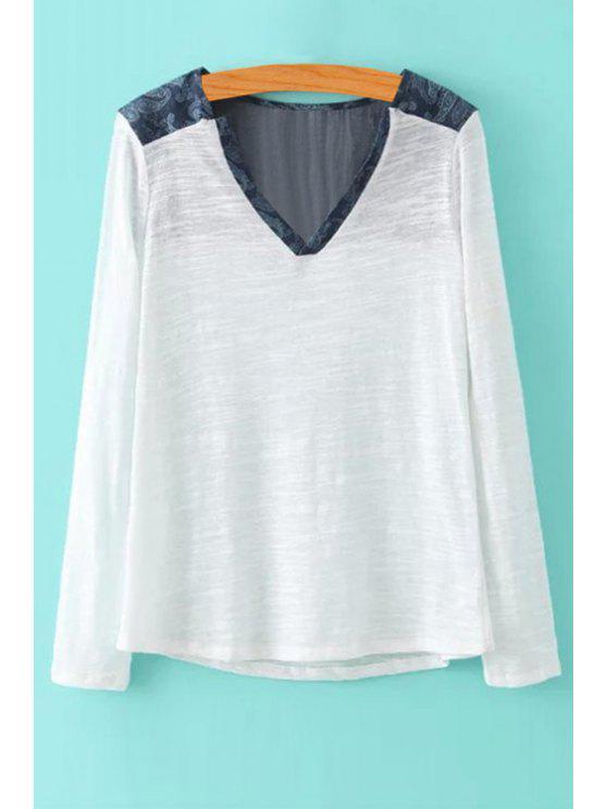 ladies Denim Spliced Long Sleeve T-Shirt - WHITE S