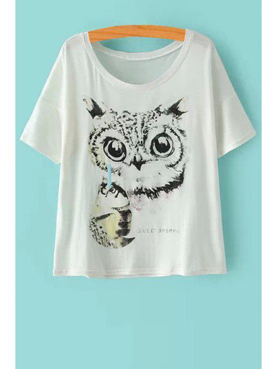online Short Sleeve Owl Print T-Shirt - WHITE M