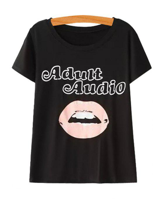 hot Lip Letter Print Short Sleeve T-Shirt - BLACK ONE SIZE(FIT SIZE XS TO M)