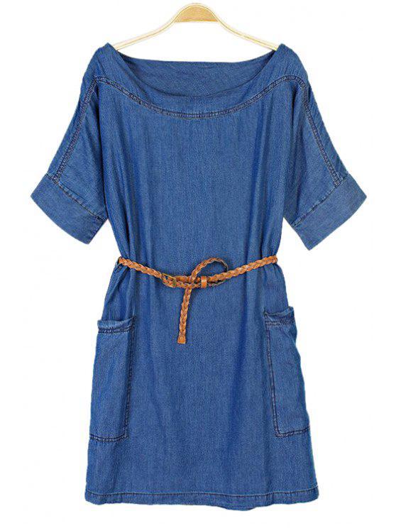 buy Pocket Bleach Wash Belt Denim Dress - BLUE XS