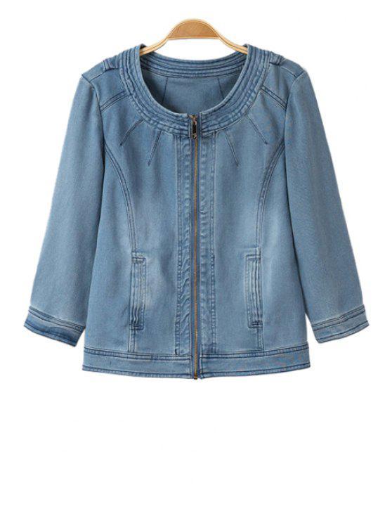 shops Ruffle Bleach Wash Denim Long Sleeve Coat - BLUE S