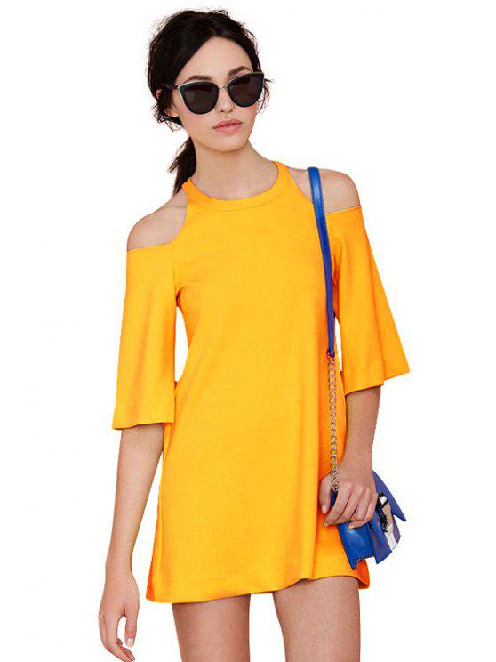 buy Yellow Off-The-Shoulder Dress - YELLOW S