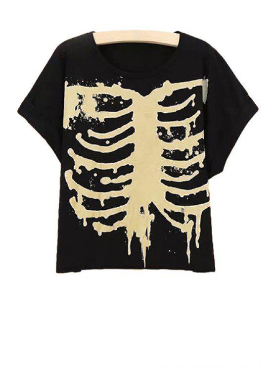 hot Short Sleeve Skeleton Print T-Shirt - BLACK M