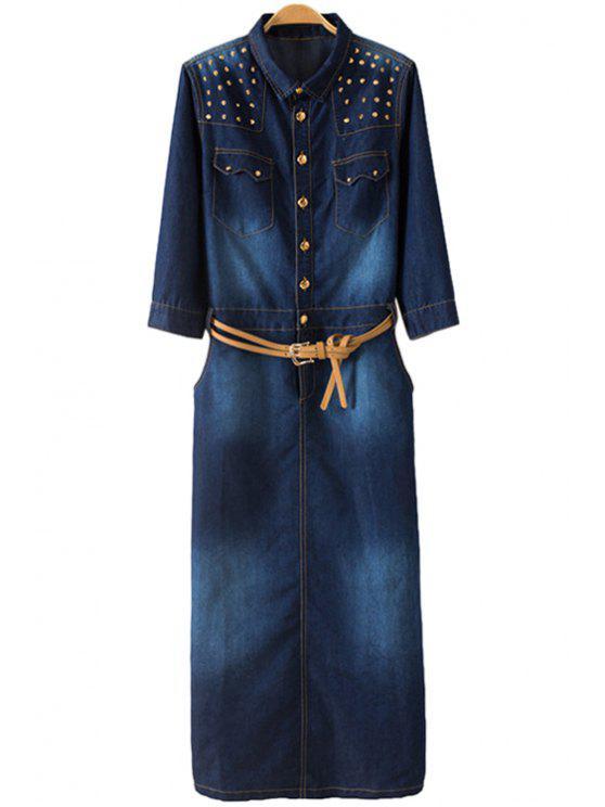 shops Rivet Embellished Denim Long Sleeve Dress - BLUE S