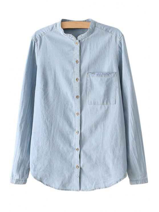 shops Bleach Wash Denim Long Sleeve Shirt - BLUE S