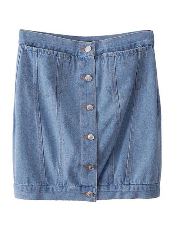 best Buttons Two Pockets Bleach Wash Denim Skirt - LIGHT BLUE XS