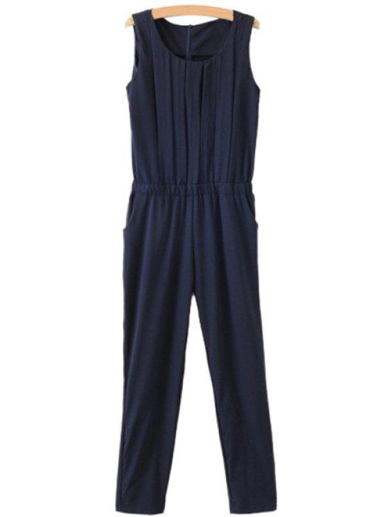 unique Solid Color Ruffle Sleeveless Jumpsuit - CADETBLUE S
