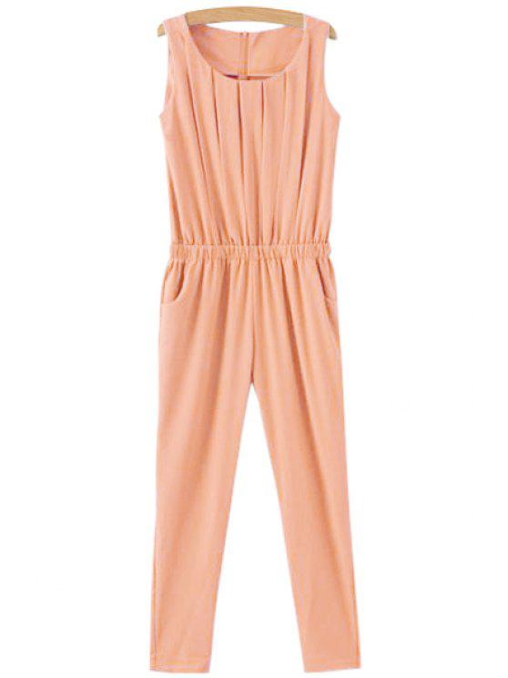 outfits Solid Color Ruffle Sleeveless Jumpsuit - PINK XL