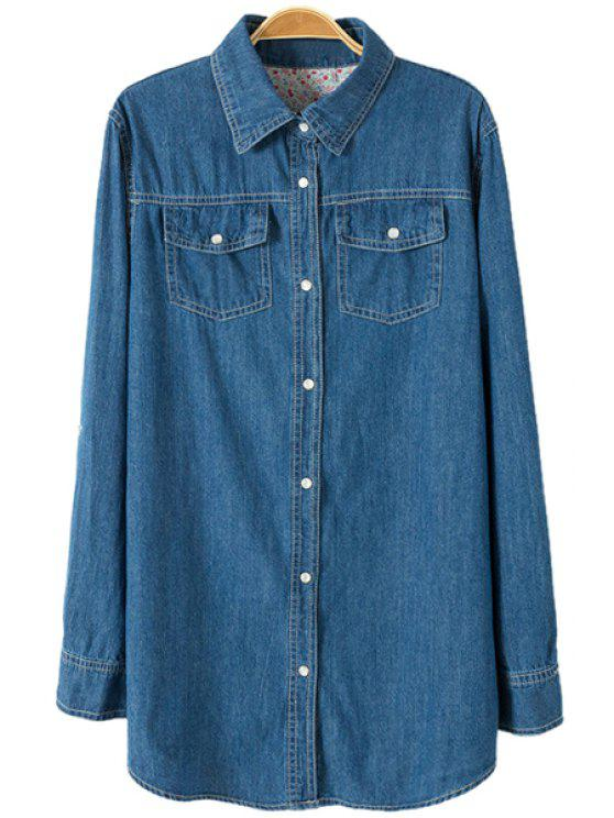 new Bleach Wash Tiny Floral Lining Shirt - DEEP BLUE S