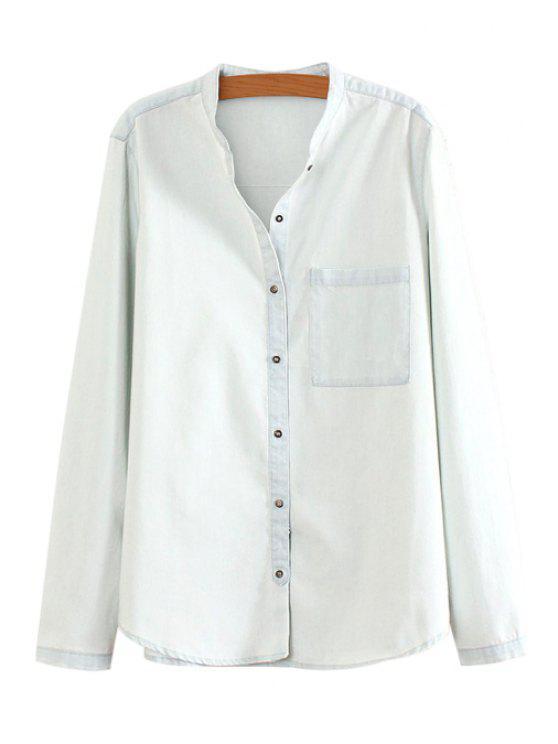 fashion Solid Color Pocket Denim Shirt - WHITE S