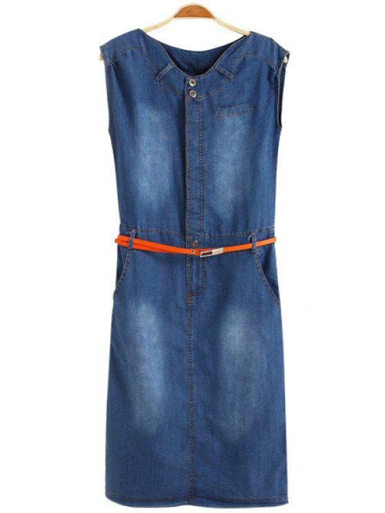 women Bleach Wash Belt Denim Sleeveless Dress - BLUE S
