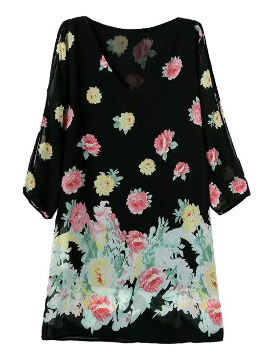chic V-Neck Yellow Pink Floral Print Dress - BLACK S