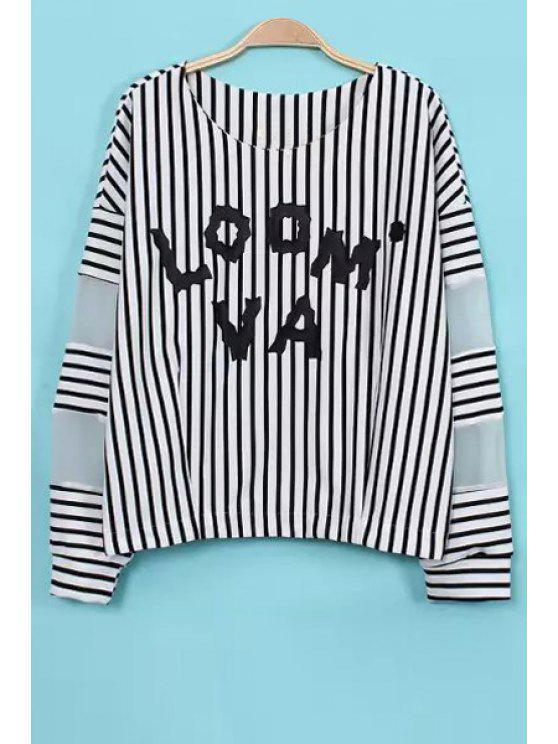 online Stripe Letter Print Long Sleeve T-Shirt - WHITE M