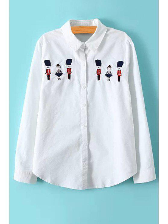 buy Cartoon Embroidery Long Sleeve Shirt - WHITE M