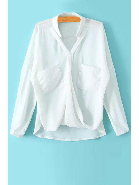 women Two Pockets Asymmetrical Long Sleeve Shirt - WHITE M