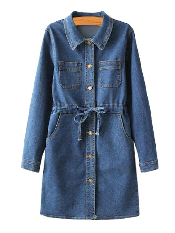 shop Blue Denim Long Sleeve Dress - ROYAL BLUE M