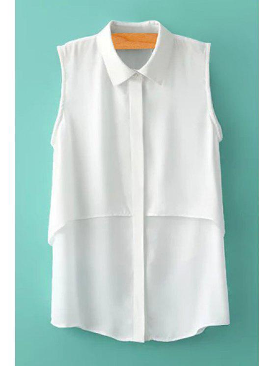 affordable White Sleeveless Chiffon Shirt - WHITE S