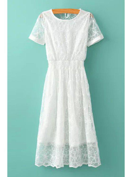 latest White Lace Short Sleeves Dress - WHITE S