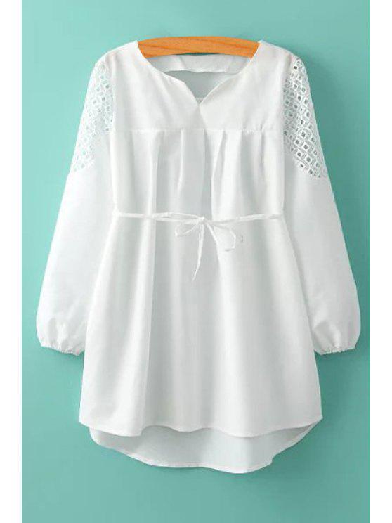 women's White Hollow Long Sleeve Dress - WHITE M