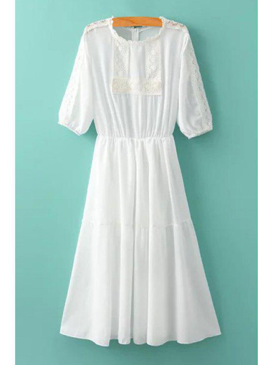 sale Crochet Spliced Half Sleeve Dress - WHITE M