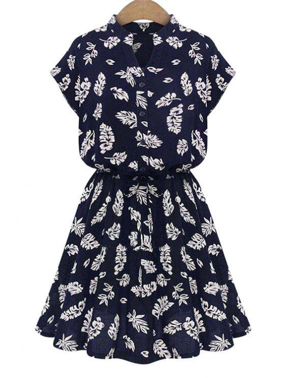 hot V-Neck Leaves Print Tie-Up Dress - BLUE S