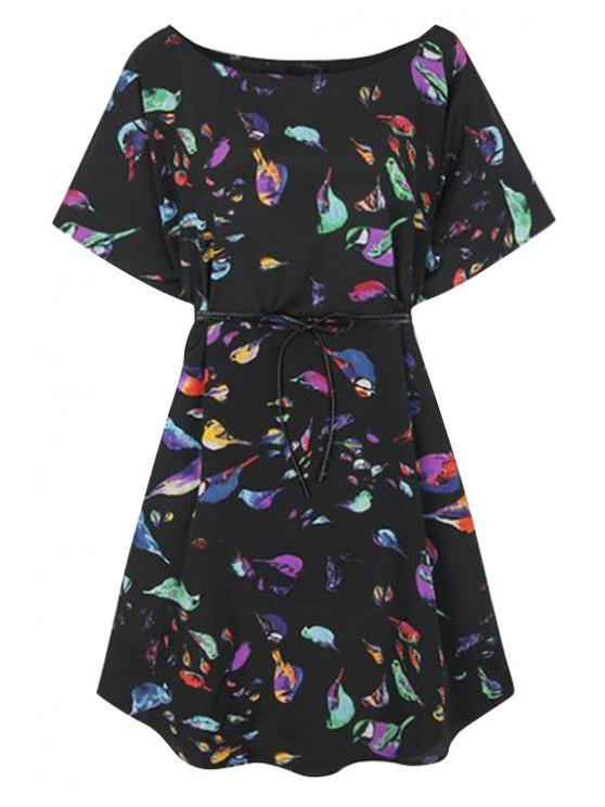 shops Colorful Birds Print Short Sleeve Dress - BLACK S