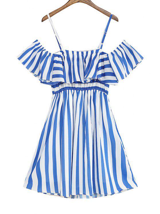 shops Striped Ruffles Spaghetti Straps Dress - STRIPE ONE SIZE(FIT SIZE XS TO M)