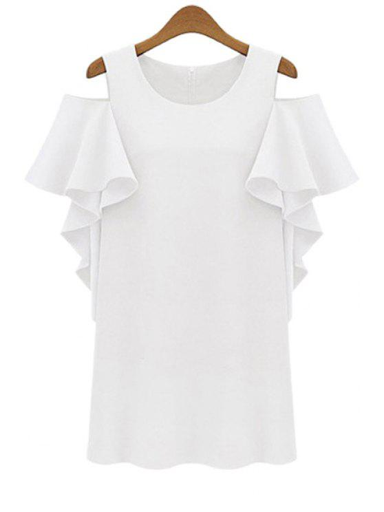 outfit Off-The-Shoulder Flounce Splicing Dress - WHITE S