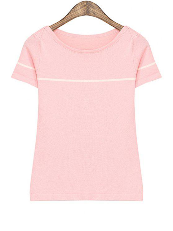 fashion Striped Short Sleeves T-Shirt - PINK ONE SIZE(FIT SIZE XS TO M)