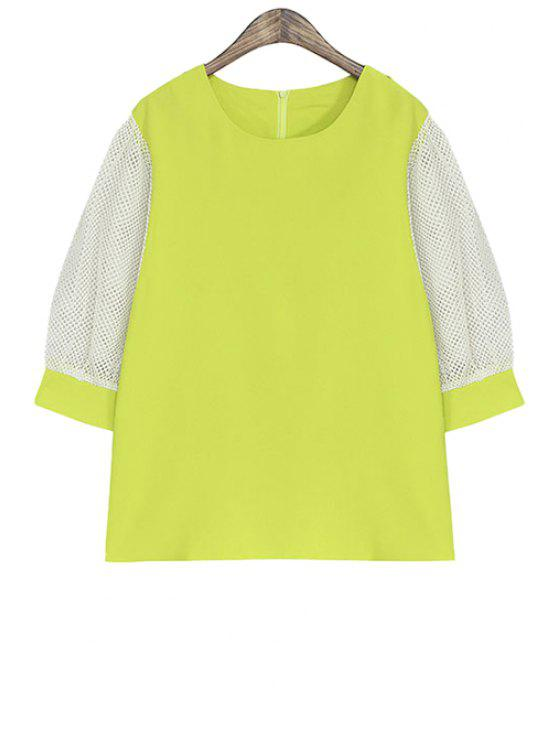 ladies Color Block Half Sleeve Blouse - NEON GREEN ONE SIZE(FIT SIZE XS TO M)