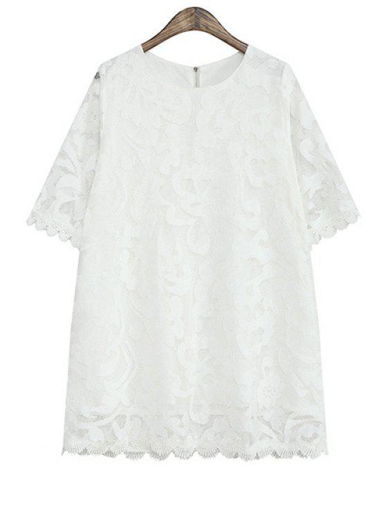 fashion White Short Sleeve Lace Dress - WHITE ONE SIZE(FIT SIZE XS TO M)