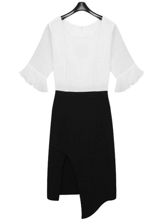 trendy Flounce Splicing Asymmetrical Color Block Dress - WHITE AND BLACK M