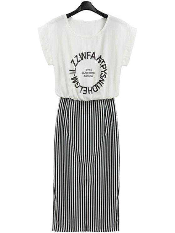 fancy Letter Print Stripe Short Sleeve Dress - WHITE AND BLACK S