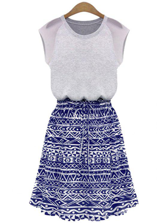 best Blue Geometric Print Short Sleeve Dress - PURPLISH BLUE XL