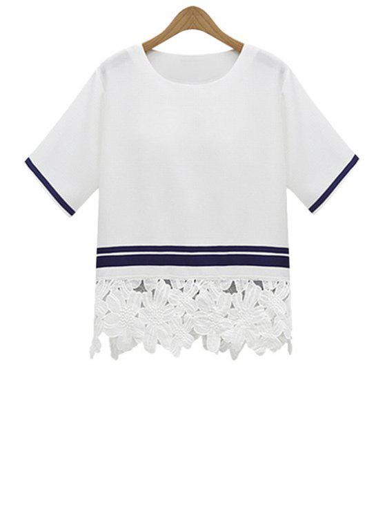 sale Stripe Lace Splicing Short Sleeve T-Shirt - WHITE S