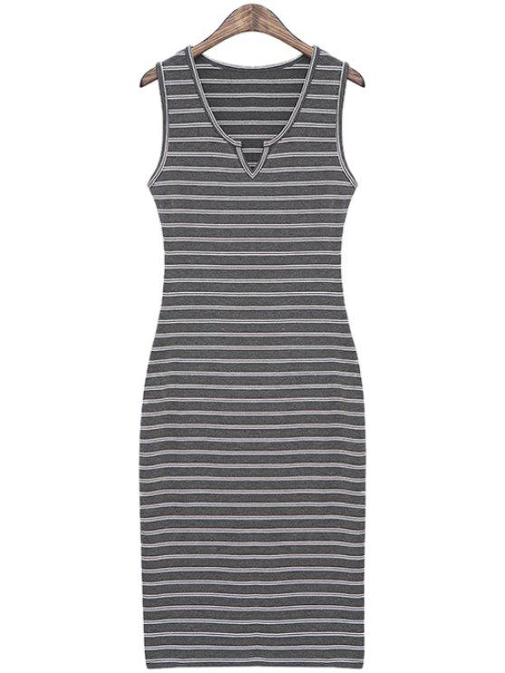 best Striped Slimming Sundress - DEEP GRAY ONE SIZE(FIT SIZE XS TO M)