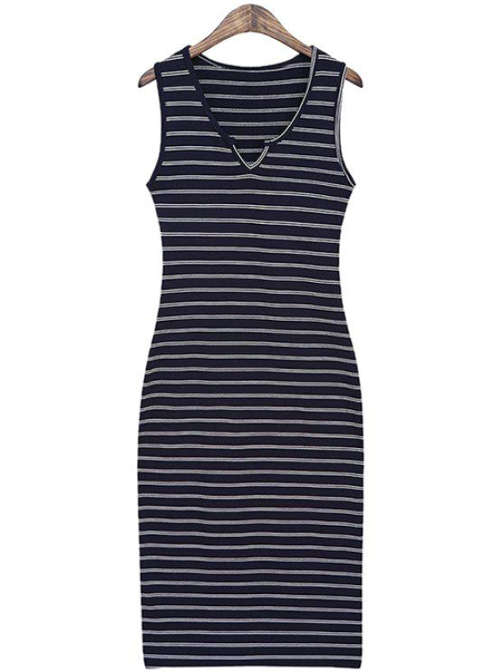 online Striped Slimming Sundress - DEEP BLUE ONE SIZE(FIT SIZE XS TO M)