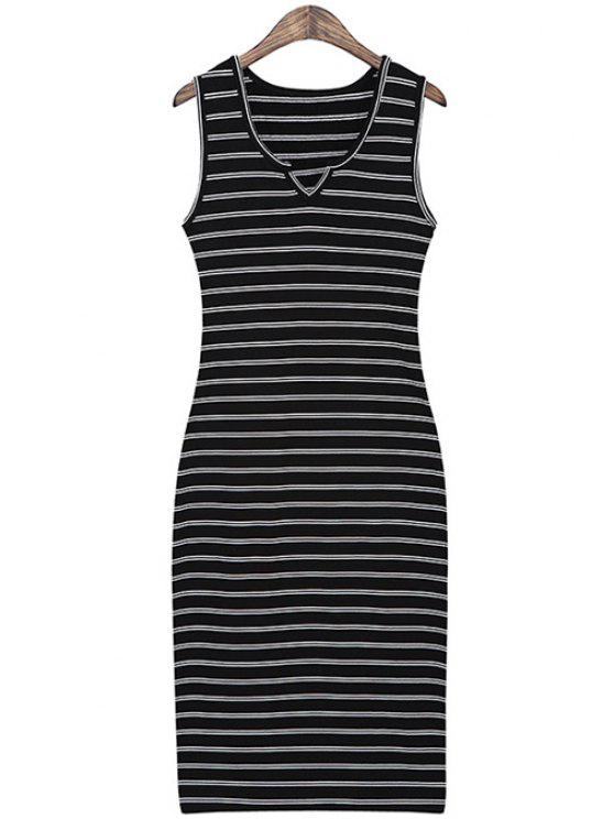 new Striped Slimming Sundress - BLACK ONE SIZE(FIT SIZE XS TO M)