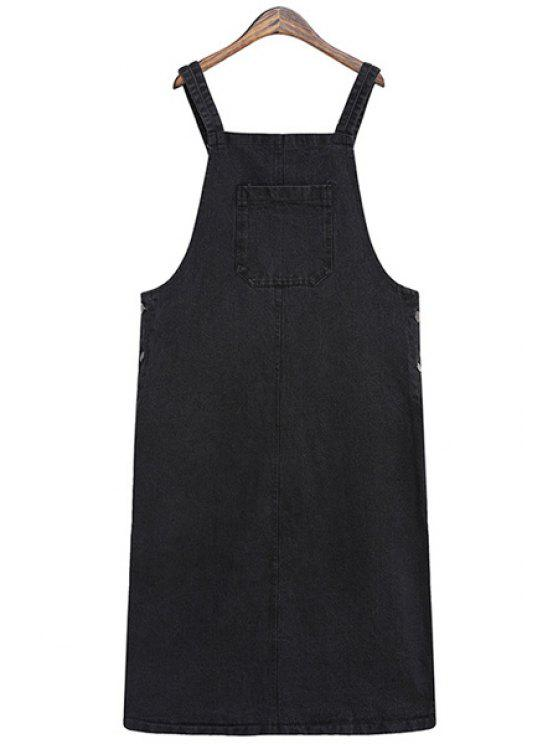outfit Solid Color Straps Denim Dress - BLACK ONE SIZE(FIT SIZE XS TO M)