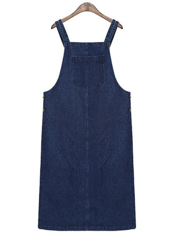outfits Solid Color Straps Denim Dress - BLUE ONE SIZE(FIT SIZE XS TO M)