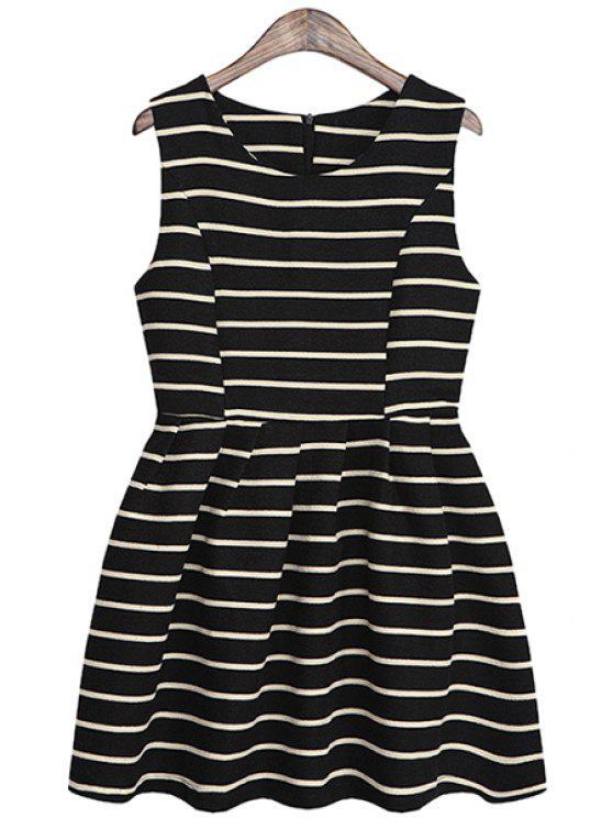 unique Striped A-Line Sundress - BLACK ONE SIZE(FIT SIZE XS TO M)