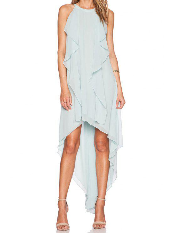 trendy Light Blue High-Low Hem Sleeveless Dress - LIGHT BLUE M