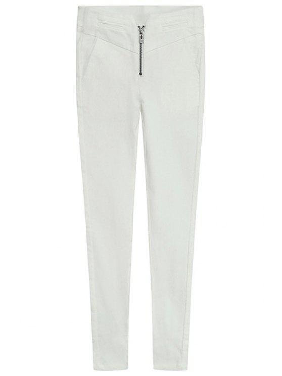 women Solid Color Zipper Skinny Pants - WHITE L