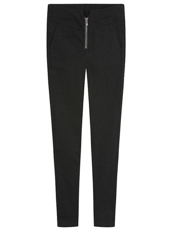 unique Solid Color Zipper Skinny Pants - BLACK S