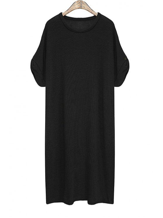 shop Solid Color Short Sleeve Knit Dress - BLACK ONE SIZE(FIT SIZE XS TO M)