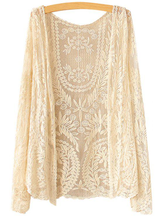 latest Collarless Leaves Pattern Lace Coat - BEIGE ONE SIZE(FIT SIZE XS TO M)