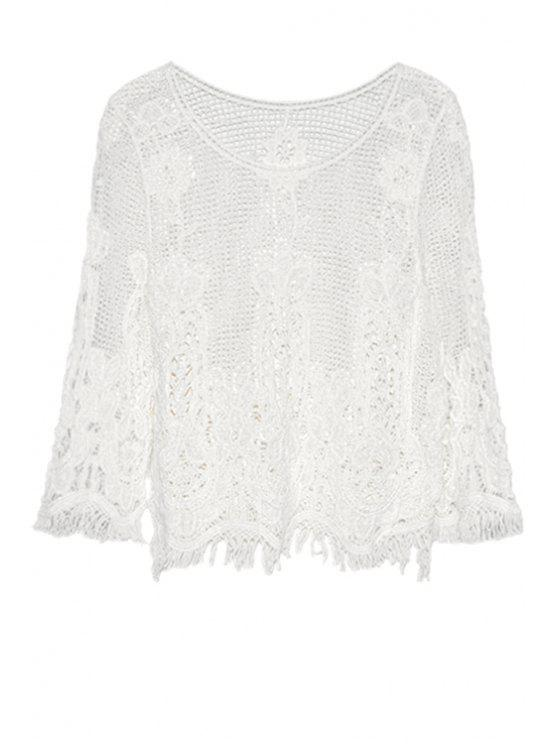 buy Openwork Fringe 3/4 Sleeve Tank Top - WHITE ONE SIZE(FIT SIZE XS TO M)