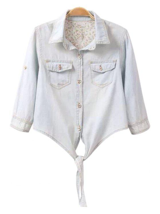 outfit Solid Color Denim Half Sleeve Shirt - BLUE S