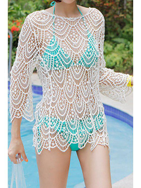 outfits Openwork Solid Color Long Sleeve Tank Top - WHITE ONE SIZE(FIT SIZE XS TO M)