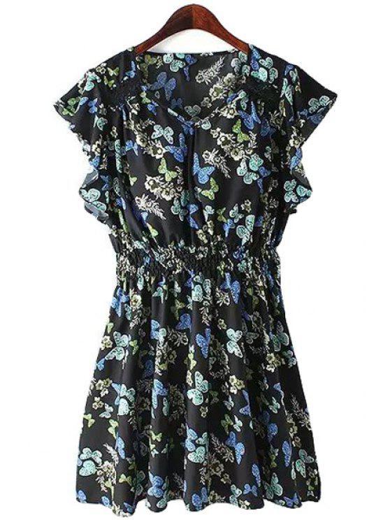 women's Butterfly Print Butterfly Sleeve Dress - BLACK S